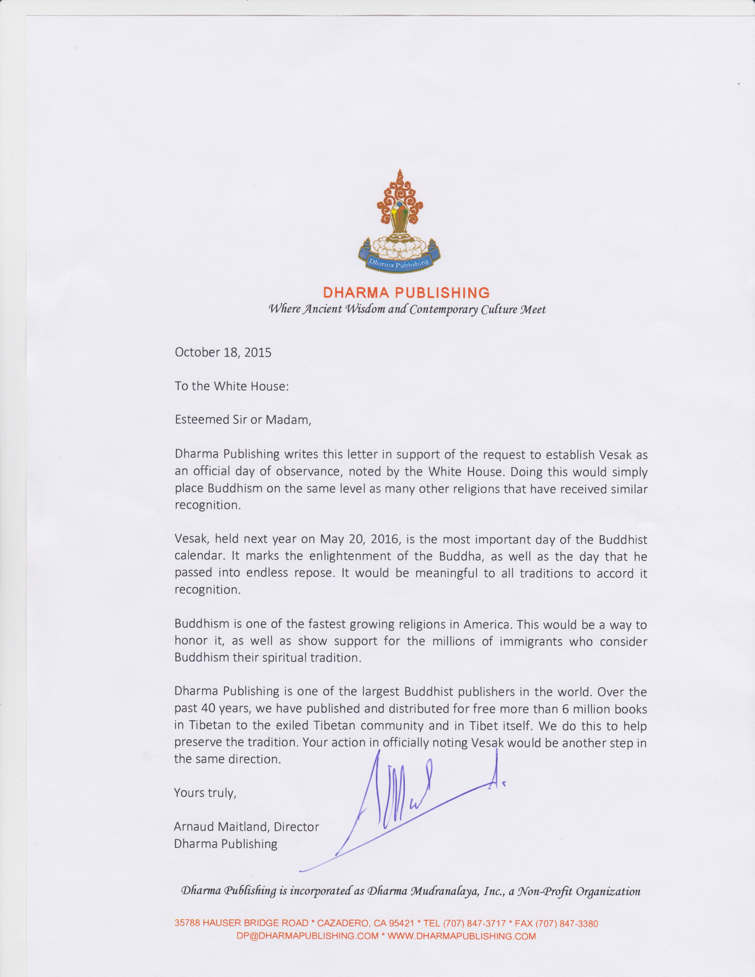 Dharma Publishing Letter