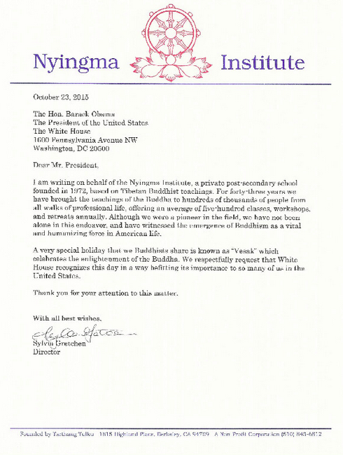 Nyingma Institute letter to the President