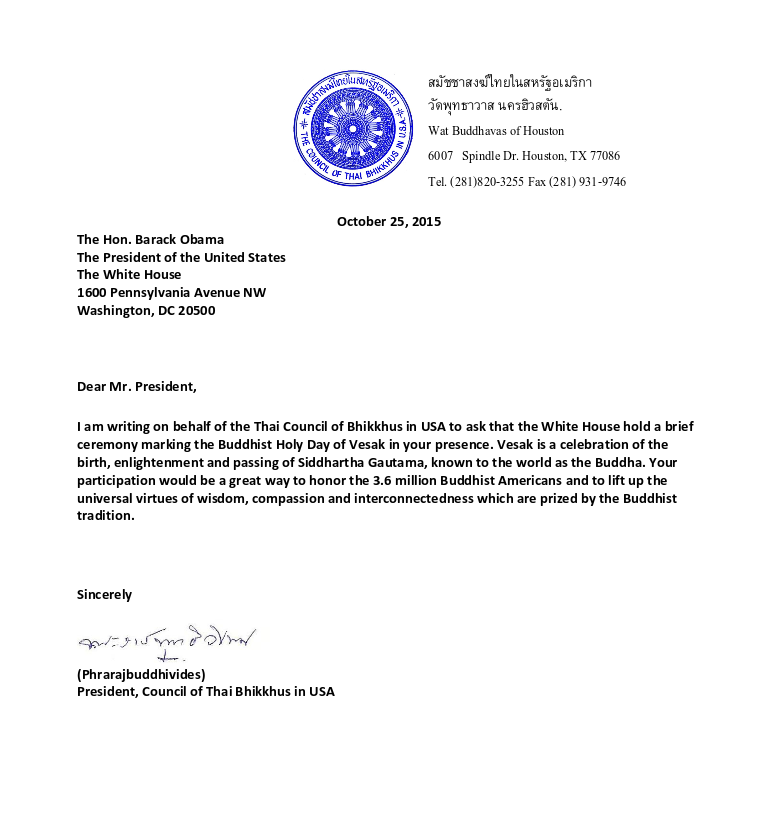Thai Council of Bhikkhus USA letter-1